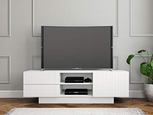 Price comparison product image Nexera 115303 Marble,  White 60-inch TV Stand Matte Lacquer Melamine