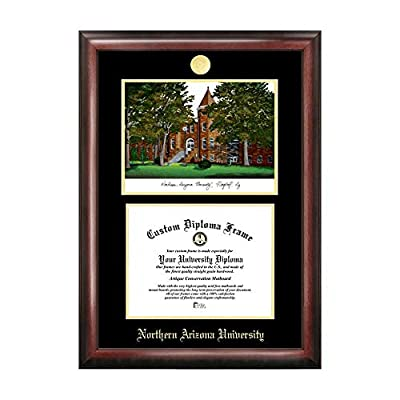 Campus Images Sports Team Logo Design Northern Arizona University Gold Embossed Diploma Frame with Campus Images Lithograph
