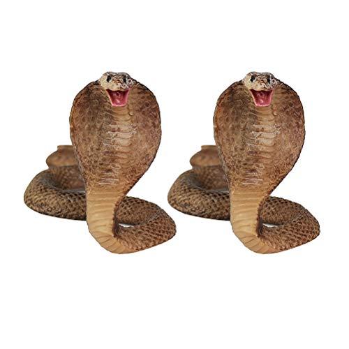 Amosfun 2Pcs Halloween Simulation Cobra Figurine Snake Model Toy Desktop Ornaments Prank Prop Decoration