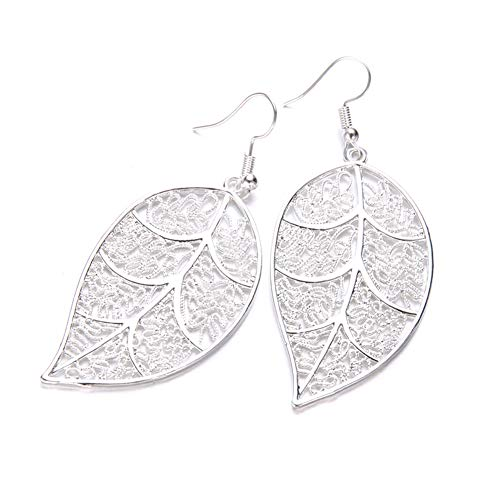 (Afco Colorful Leaf Pendant Drop Hook Earrings Metal Hollow Statement Dangle Fashion Jewelry (Tree Leaf))
