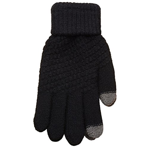 PASATO Knit Wool Soft Man Women Winter Keep Warm Windproof Mittens Gloves For Unisex Anti-Slip Touchscreen Texting Gloves(black,Free Size) from PASATO Gloves