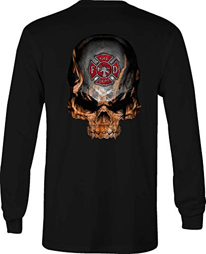 Long Sleeve T Shirt Men Flaming Skull Fire Fighter Maltese Cross Flames - Med Black