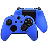 Pandaren Soft Silicone Thicker Skin Cover for Xbox One Controller Set (skin X 2 + Thumb Grip X 4)(Red,Blue)