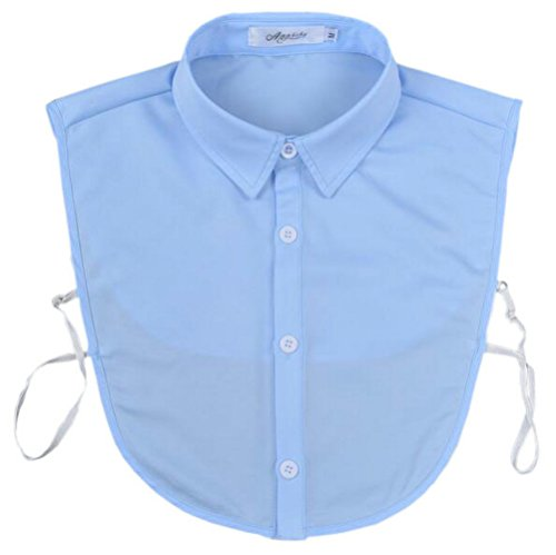 Joyci Men's Fashion OL False Collar Solid Color Lapel Half Shirt Fake Collar (Blue)