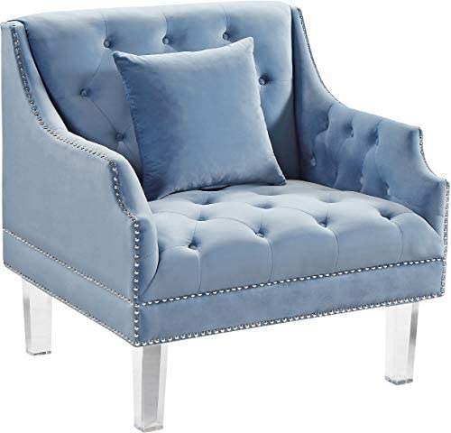 Meridian Furniture Roxy Collection Modern Contemporary Velvet Upholstered Chair with Luxurious Deep Tufting, Nailhead Trim and Acrylic Legs, Sky Blue, 33.5 W x 32 D x 35 H