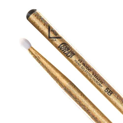 Vater Percussion Color Wrap 5B Drumsticks, Gold Sparkle, Nylon Tip