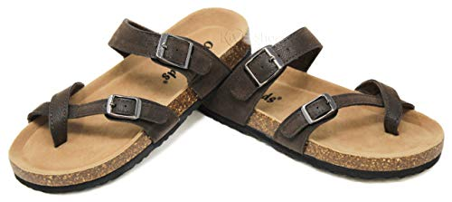 9afcf13f551b MVE Shoes Women s Mayari Sandal -Cork Flat Strappy Mules - Awesome Summer  Shoes
