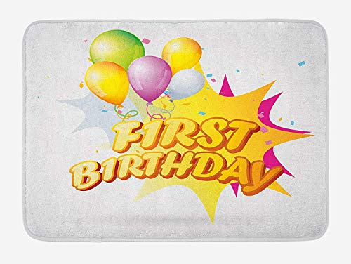 TAQATS 1st Birthday Bath Mat, Toddler First Party Celebration with Quote and Balloons Kids Design, Plush Bathroom Decor Mat with Non Slip Backing, 23.6 W X 15.7 W Inches, Yellow and Hot Pink