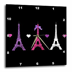 3dRose LLC DPP_113151_1 Wall Clock, 10 by 10-Inch, Girly Eiffel Tower-Hot Pink Purple Black Paris Towers Love Hearts Stylish French Modern France