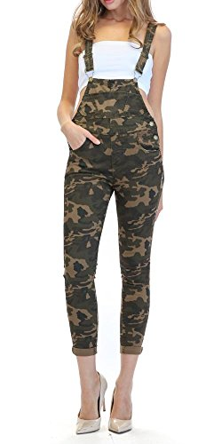 - TwiinSisters Women's Solid Color Slim Fitted Skinny Overalls with Comfort Stretch (Camo, 2X #Rjho378)