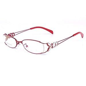 Langford original eyeglasses frame oval women optical glasses vintage gold 6150 (Red, 52mm)