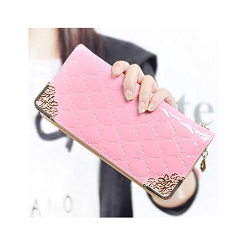 2019 Luxury Vintage Women Long Patent Leather Plaid Wallet Female Phone Purse Coin Credit Card Holder,Pink