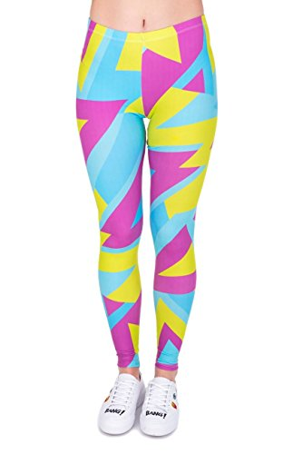 Pink, Yellow and Blue Geometric Fitness Leggings.