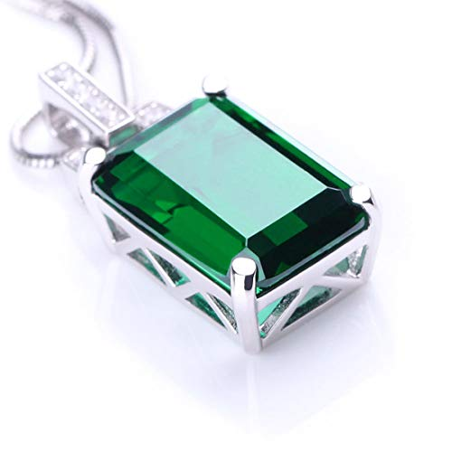 (ANGG Women 6ct Green Emerald Cut Necklace Pendant 925 Sterling Silver)