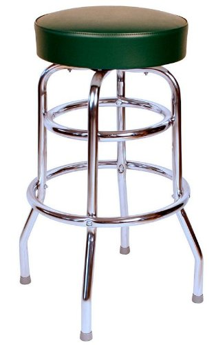 Richardson Seating 0-1952GRN Double Rung Backless Swivel Bar Stool with Chrome Frame and Seat, Green, -