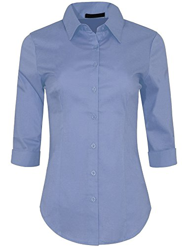 Iron Puppy Womens 3/4 Sleeve Skinny Button Down Collared Shirts With Stretch Small New Lilac