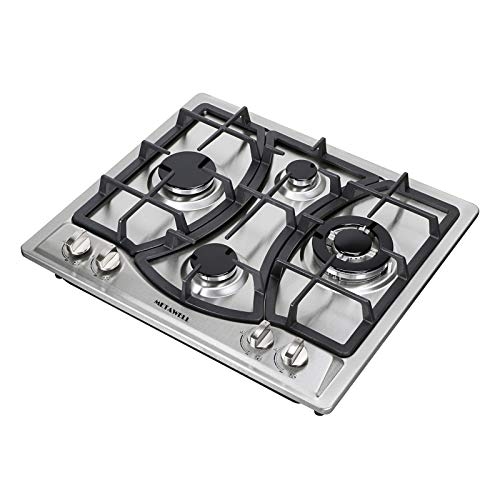 "[US Seller, Ship from CA,US] METAWELL 23"" Curve Stainless Steel 4 Burner Stove NG/LPG Hob Cooktops Cooker"