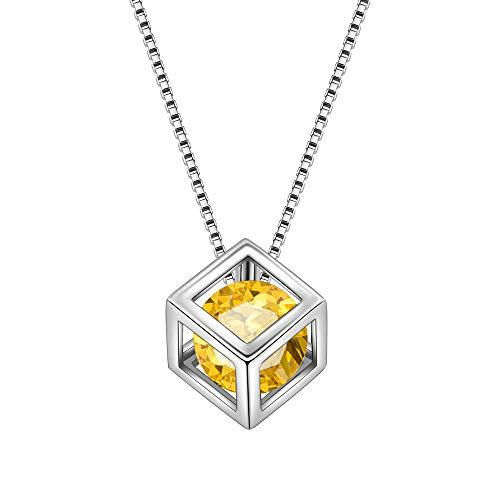 (Aurora Tears November Birthstone Necklaces Women 925 Sterling Silver 3D Cube Crystal Nov. Birth Stone Pendant Cubic Zirconia Birthday Pendant Girls Charm Dating Gift Jewelry DP0028N)