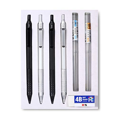 (Mechanical Pencil Set 0.5, 0.7mm 2 Sizes HB Lead 7 Piece Kit Stainless Steel Automatic Pencils ... Sketching Writing, 0.5 mm HB #2 Lead, Break Resistant Automatic Pencil (4 in one))