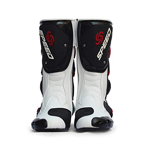 iBelly PRO-Biker Speed Bikers Motorcycle Boots Moto Racing Motocross Off-Road Motorbike Boots for Motorcycle, Cruiser, Touring, Chopper, Scooter, Street MotoBlack/White/Red Size 40/41/42/43/44/45 (Scooter Motor Boots)
