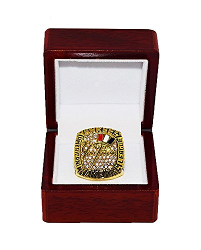 NEW YORK YANKEES (Derek Jeter) 2003 AMERICAN LEAGUE CHAMPIONS (Pride) Rare & Collectible High-Quality Replica MLB Baseball Gold Championship Ring with Cherrywood Display Box Trackside Autographs