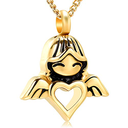 (Yinplsmemory Little Angel Girl Keepsake Ash Necklace Urn Memorial Ashes Pendant Cremation Jewelry (Gold))