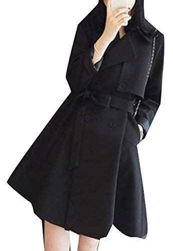 Discount Papijam Womens Double Breasted Elegant Flare British Style Trench Coat supplier