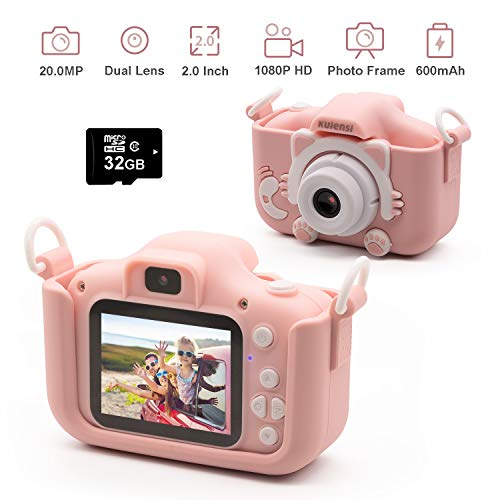 """Kids Digital Camera Child Camcorder, Girls Birthday Toy Gifts for 4-13-Year-Old Children, Update Dual Cameras 20.0MP Toddler Video Recorder 1080P IPS 2"""" Screen with 32G TF Card, Cat Soft Silicone Case"""