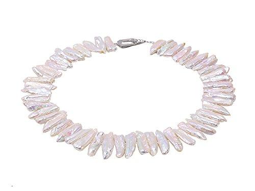 JYX Classic 7x20mm White Freshwater Biwa Pearl Necklace (Biwa Pearl)