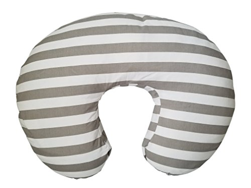Maternity Breastfeeding Pillow Cover by Danha-Newborn Baby Feeding Cushion Case-Cute Donut Shape Wedge Pillow-Best Infant Support-for New Moms-Grey White Stripe Prints Slipcover-Breathable Soft Fabric (Elephant Ear Pillow Pink)