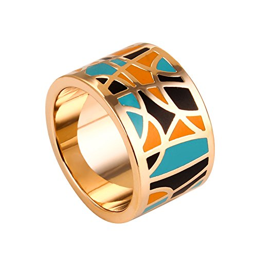 JINKAIJIA Women's 18K Gold Plated Bohemia Ethnic Style Enamel Ring Fashion Indian Jewelry Vintage Finger Ring(JZ001-9) - Dress Ring Designs