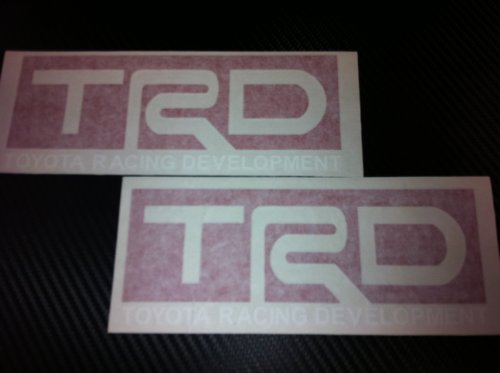 2 X TRD Toyota Racing Decal Sticker (New) White/red Size 7''x2.75''