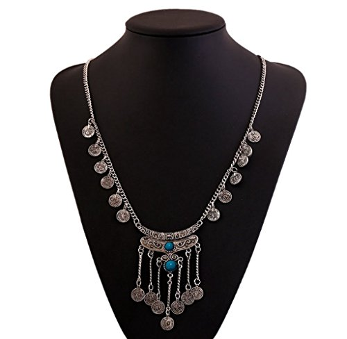 [Usstore 1PC Women Gypsy Ethnic Tribal Coin Long Chain Gem Pendant Chain Necklace Alloy Gift] (Ethnic Costume For Men)