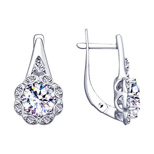 Paradis Love Sokolov .925 Sterling Silver Elegant Round Earrings w//Cubic Zirconia