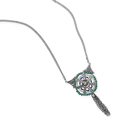 """36"""" Fashion Necklace with Multicolor Glass Bead Dreamcatcher Drop 36"""" silver tone metal chain fashion necklace with a 45mm green, blue and pink glass beaded drop with an 11.5mm crystal bead center. The dreamcatcher style drop includes oxidized silver tone spacer bars, decorative flower beads, and a 2"""" multistrand silver tone chain tassel. The beads range in size from 2.5mm - 4.5mm. The necklace has a lobster clasp closure. Fashion jewelry contains base metal."""