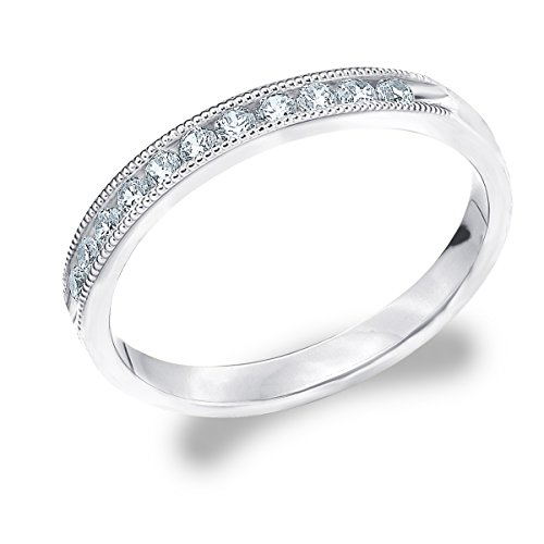 14K White Gold Diamond Milgrain Ring (.25 cttw, F-G Color, VS1-VS2 Clarity) Size 6.5 by Eternity Wedding Bands LLC