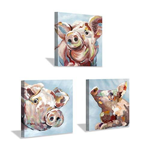 Pig Canvas Wall Art Print: Piggy Pudding Artwork Art Painting Decor Picture for Baby or Kids Rooms (12'' x 12'' x 3 Panels) (Pig Picture)