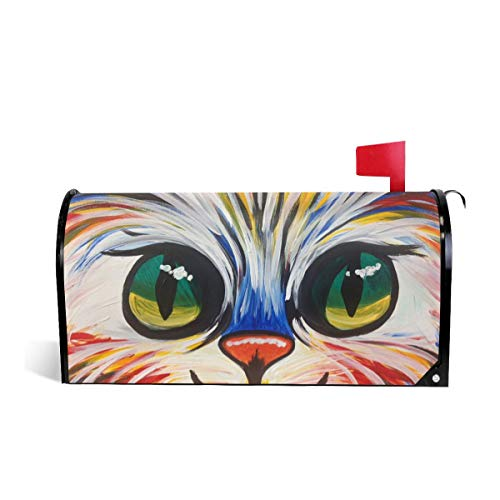 Mefond Magnetic Mailbox Cover Colorful Kitty Post Letter Box Wraps Garden Yard Home Decor for Outside Oversized 25.5