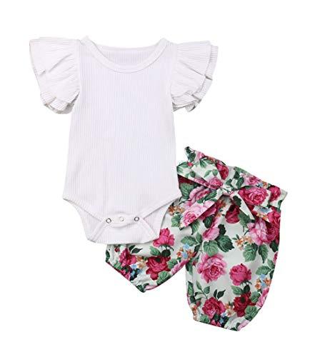 3PCS Clothes Set Newborn Toddler Baby Girl Romper Bodysuit Jumpsuit Floral Halen Pants Outfit Clothes (0-6 Months, White 1)