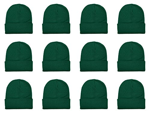 Gelante Unisex Beanie Cap Knitted Warm Solid Color Multi-Packs (12 Pack: Hunter Green)