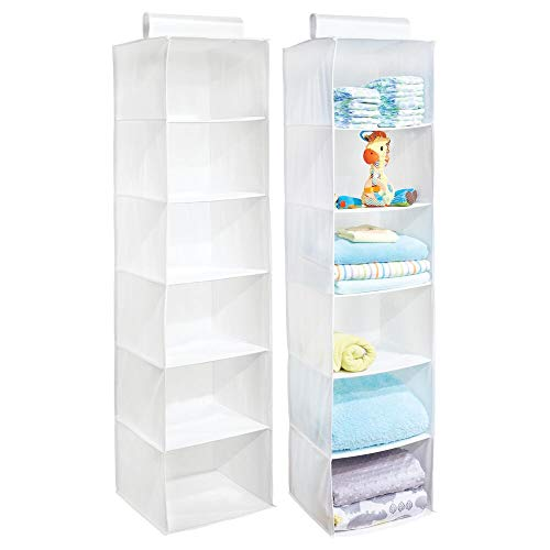 mDesign Long Soft Fabric Over Closet Rod Hanging Storage Organizer with 6 Shelves for Child/Kids Room or Nursery - 2 Pack - White