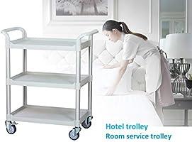 Light grey color Service Cart L90 x D50 x H103cm Clinic cart Hospital Utility cart JBG-300 JaboEquip Commercial Heavy Duty 3 Tier Medical Cart 275 kg load cap Off-white
