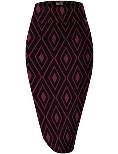 HyBrid & Company Womens Pencil Skirt for Office Wear KSK43584 10672 RED/Black S