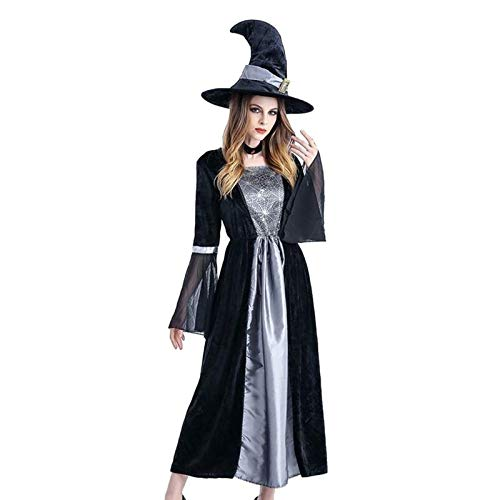Party DIY Decorations - Halloween Witch Cosplay Masquerade Costume Set With Dress And Hat - Decorations Party Party Decorations Shirt Witch Birthday Halloween Pendant Cosplay Magician Jewelr