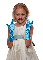 Showstopper Shiny Satin Elbow Length Gloves for Girls (Sky Blue, 4-7)