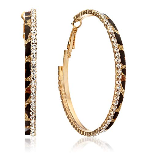 (Gemini Women Fashion Leopard Print Crystal Big Round Hoop Earrings Gm148, Size: 2