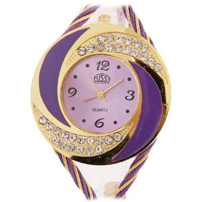 Reloj Diamante Whirlwind (falso) estilo cristal vidrio espejo superficie moda mujer cuarzo relojes morado