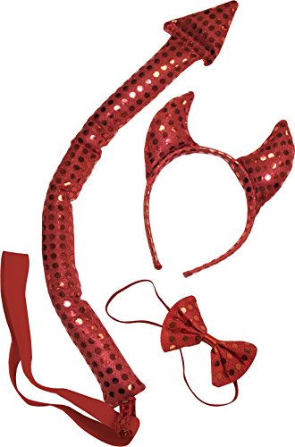 Devil Horns Costumes Accessories (Kangaroo's Sequin Devil Costume, Red, Size Adult)