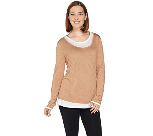 Kelly Clinton Kelly Jersey Knit Faux Layered Tee A283410, Camel Combo, XL