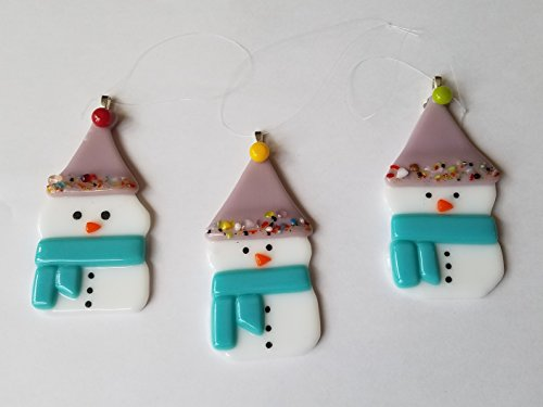 Fused Glass Snowman Holiday Christmas Ornament
